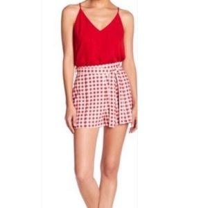 WAYF High Waist Red White Gingham Shorts Large